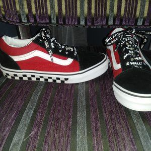 Red and Black Vans Off the Wall